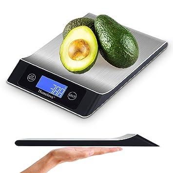 Báscula de cocina electrónica, báscula digital de alimentos, 11 lb/5 kg, pantalla LCD, función de apagado automático, conversión de múltiples unidades ...