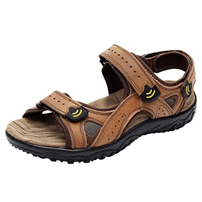 ba457b8d1aed Jamron Men s Genuine Leather Velcro Straps Sandals Lightweight Outdoor  Summer Sneakers SN01401 Brown UK6