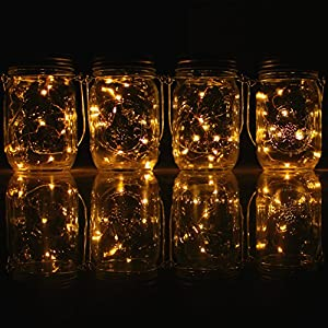 4-Pack Solar-powered Mason Jar Lights (Mason Jar / Handle Included),20 Bulbs Warn White Jar Hanging Light,Garden Outdoor Solar Lanterns,Hanging Lantern,Decor Solar Light,Table Light,Patio Path Light