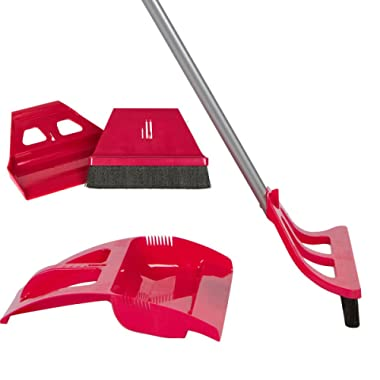WISP Cleaning Set - One Handed Telescoping Broom with Electrostatic Bristle Technology and Self Sealing Foot Operated Dustpan & Bonus Whisk Hand Brush and Mini Dust Pan (Red)