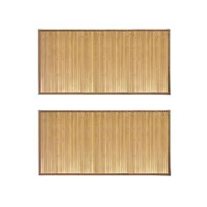 "iDesign Formbu Bamboo Floor Mat Non-Skid, Large Water-Resistant Runner Rug for Bathroom, Kitchen, Entryway, Hallway, Office, Mudroom, Vanity, 24"" x 48"", Set of 2, Natural Wood"