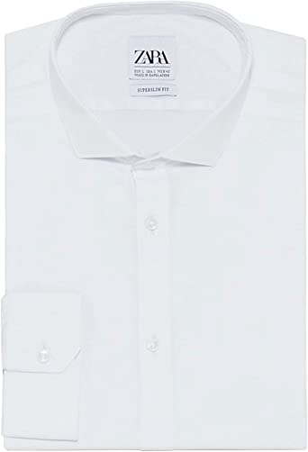 Zara 3894/450 - Camisa de Popelina para Hombre - Blanco ...