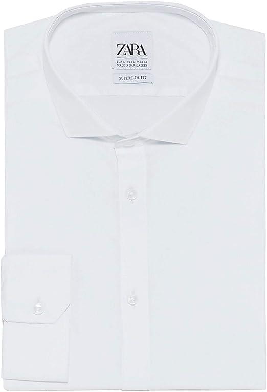 Zara 3894/450 - Camisa de Popelina para Hombre - Blanco - Small ...