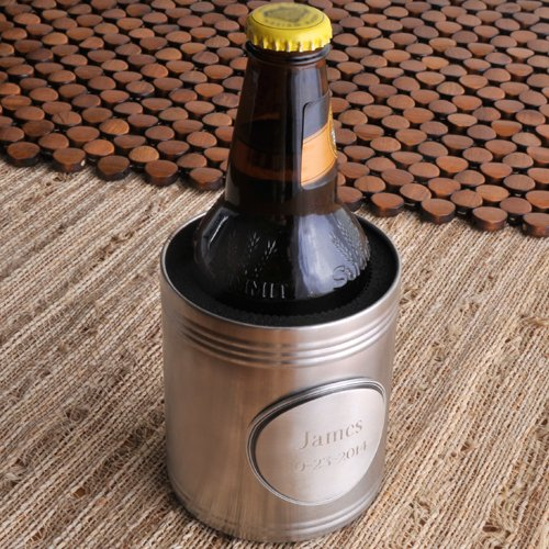 Personalized Pewter Medallion - Personalized Brushed Koozie with Pewter Medallion