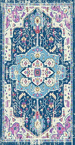 Golden Rugs Persian Area Rug 8x10 Distressed Bohemian Vintage Multi Color Faded Abstract Rug Traditional Medallion Texture for Indoor Bedroom Living Dining Room 6567 Symphony Collection (8x10, Blue) (Symphony Rug Collection)