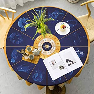 JKTOWN Astrology Small Round Tablecloth Use it for Dining Room, Restaurants, Weddings, Cafe, picnics, BBQ's, Party, etc 35 inch Natal Birth Chart Zodiac Horoscope Signs in Wheel Shape with Dots Stars