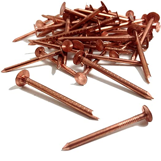 25, 30mm X 3.35mm COPPER CLOUT ROOFING NAILS   ALSO USED FOR TREE STUMP