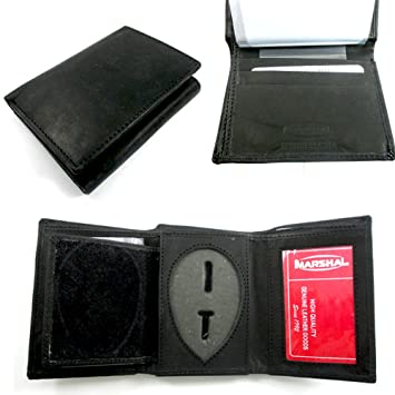 Badge Holder Wallet Genuine Leather Black Fire Sheriff Security ID Shield