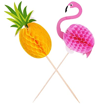 neepanda flamingopineapple cupcake toppers luau bridal shower tropical hawaiian summer party cupcake dcor