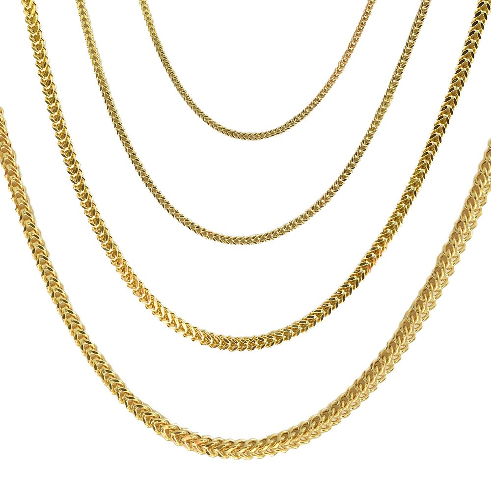 Joule Shop 10K Hollow Yellow Gold 2mm Franco Chain with Lobster Clasp, 24-inches, from