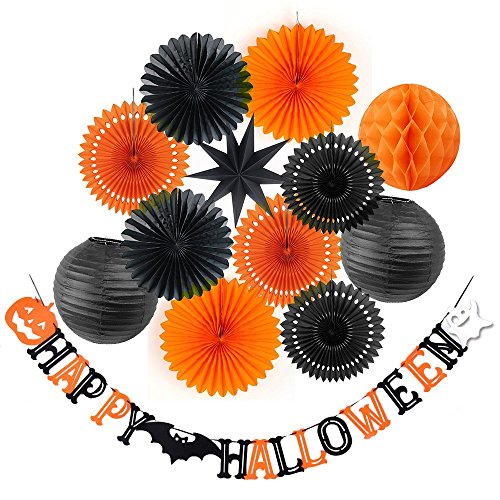 SUNBEAUTY Halloween Decoration Kit Party Banner Paper Fans Lanterns Honeycomb Balls for Halloween Party Birthday Event Decorations Black Orange 13Pieces -