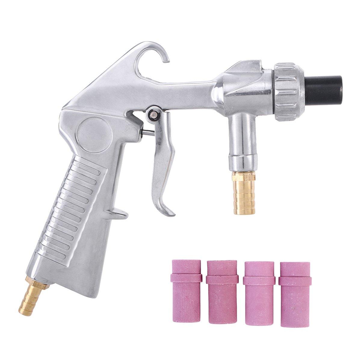 UKCOCO Sandblaster Air Siphon Nozzle Sand Blasting with 4 Ceramic Nozzles Kit