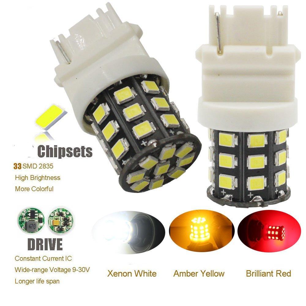 12V-24V Rouge 2835 33 SMD Ampoule de LED Remplacement pour Lumi/ère de Stationnement de LED Ampoule AMAZENAR 2-Pack 3056 3156 3057 3157 4157 Lumi/ère de Frein de Queue de Voiture