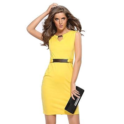 Acdyion Damen Pencil Dress V-Neck Kleid mit Metallschnalle