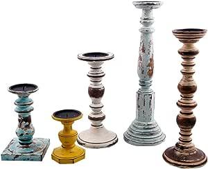 Benjara, Multicolor BM41141 Wooden Pillar Shaped Candleholder (Set of 5)