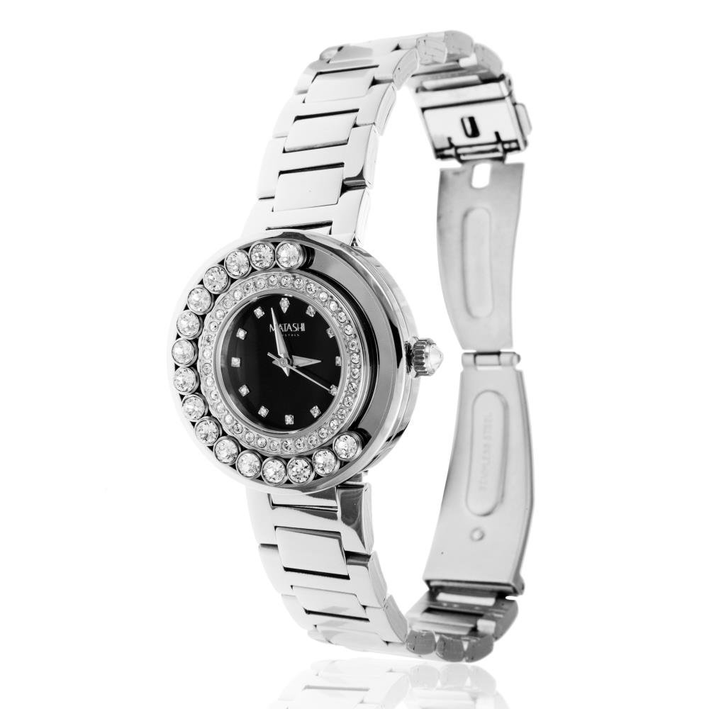 Matashi Crystals 18K White Gold Plated Women's Black Face Watch Surrounded by Swiveling Crystals; Water Resistant with Adjustable Band (Black Face)