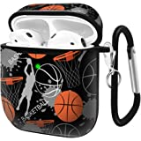 Slim Form Fitted Printing Pattern Cover Case with Carabiner Compatible with Airpods 1 and AirPods 2 / Basketball and…
