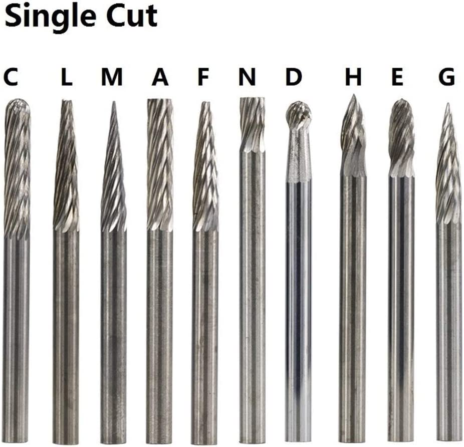 SHENYUAN Tungsten Carbide Rotary Burrs 3x3mm Rotary Tools Accessories Singe Cut and Double Cut Rotary Files (Color : 20pcs Set) 10pcs E Double Cut