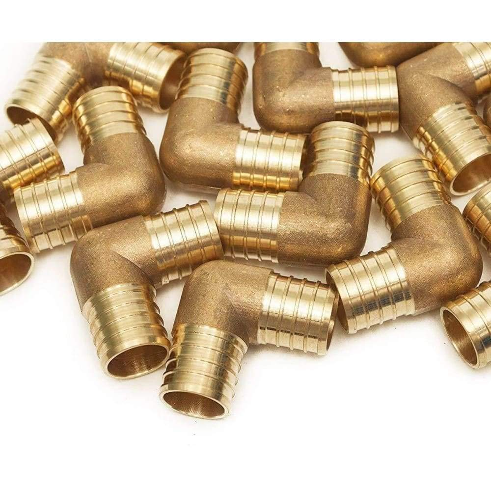 PEX 1/2 Barbed 90 Elbows - Crimp Fittings 25 pcs/Brass / 0.5 by VENTRAL (Image #1)
