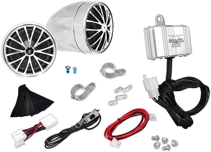 AUX in Handlebar Mount ATV Mini Stereo Audio Receiver Kit Set Also for Marine Boat Pyle 400 Watt Weatherproof Motorcycle Speaker and Amplifier System w//Two 2.25 Inch Waterproof Speakers