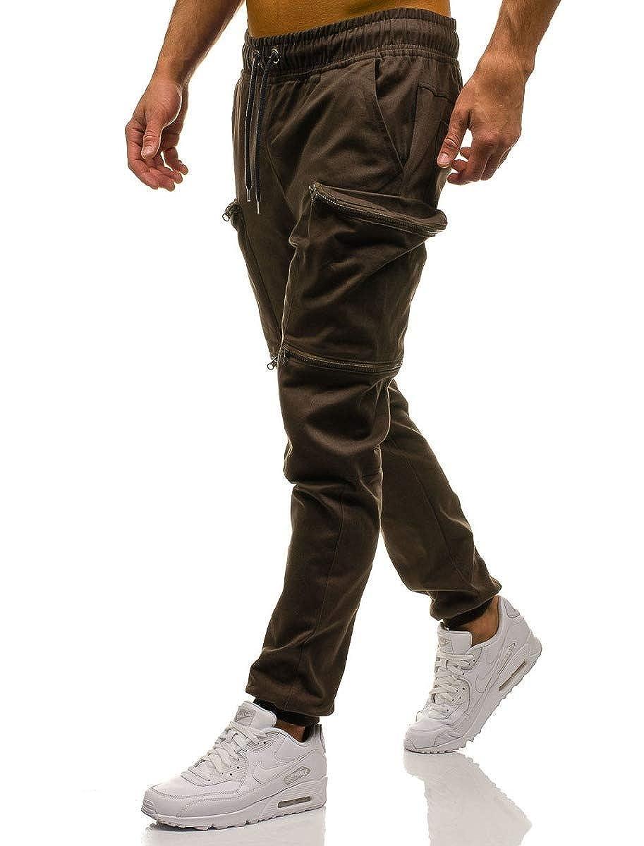 Abetteric Mens Drawstring Pockets Elastic Waist Camouflage Cargo Twill Pant
