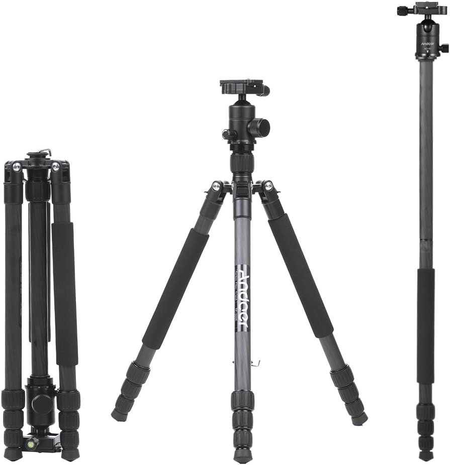Andoer 64.2 inch Professional Carbon Fiber Camera Tripod Monopod Kit 4 Sections 360 Degree AD-10 Ball Head Max Height 163cm Load 6kg