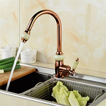 FHLYCF European Style Retro Copper Full Rose Gold Kitchen Faucet - Rose gold kitchen faucet