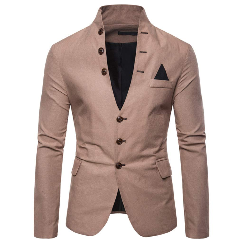 FEDULK Men's Blazer Jacket Standing Collar Long Sleeve Button Down Business Casual Slim Fit Coat(Khaki, XX-Large) by FEDULK