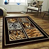 Allstar 5 X 7 Black High Density Exotic Animal Skin with Head Area Rug (5′ 2″ X 7′ 2″) For Sale