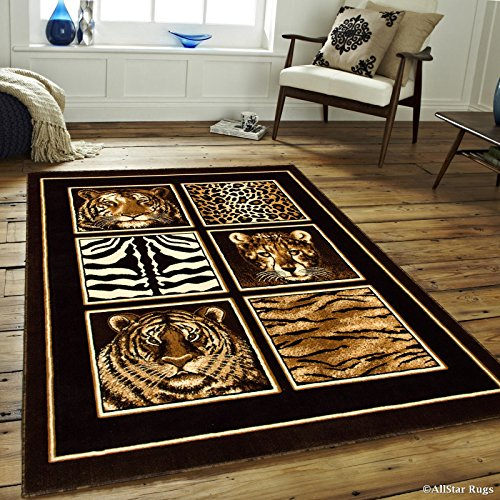 Allstar 8 X 10 Black High Density Exotic Animal Skin with Head Area Rug (7′ 10″ X 10′ 2″) For Sale