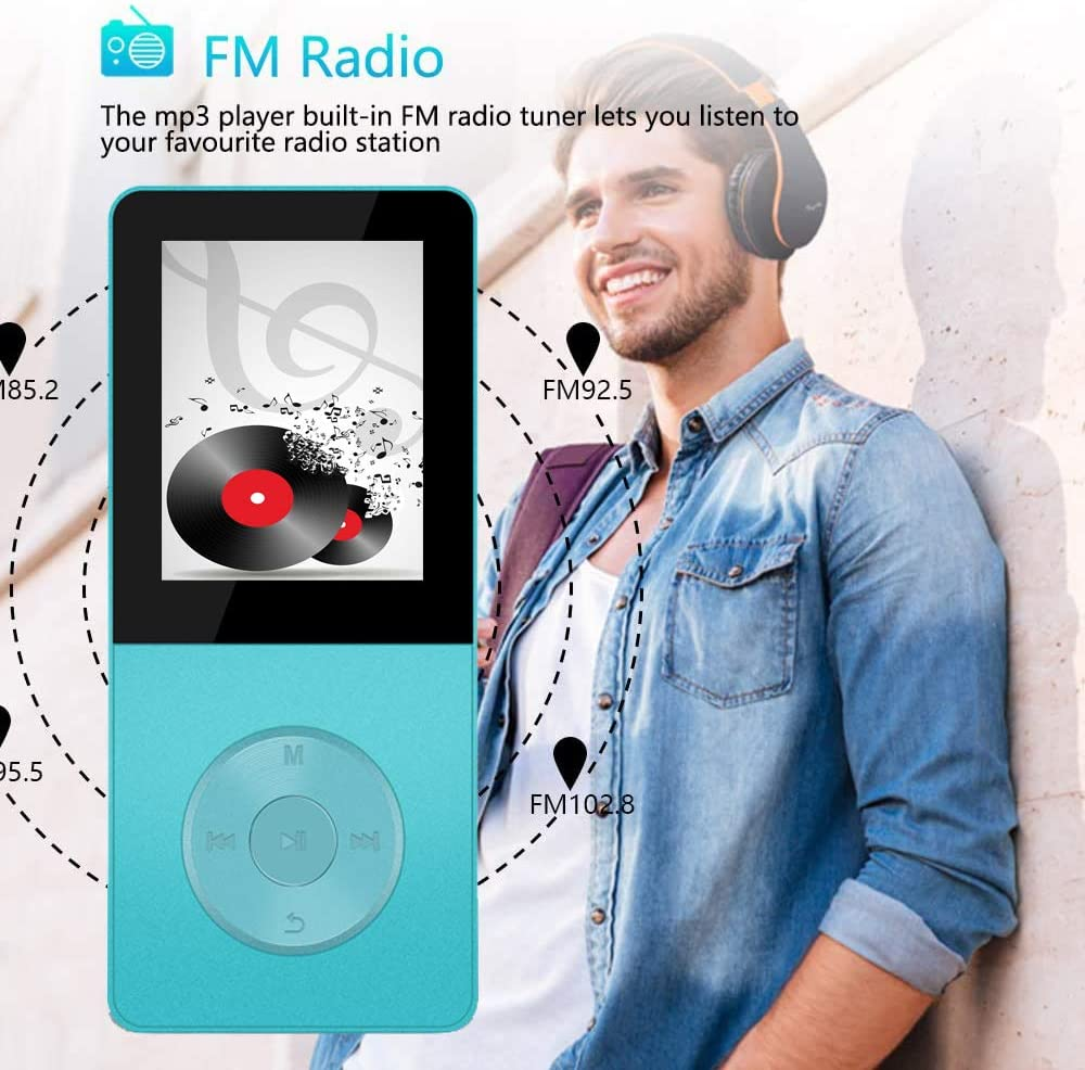 Recording Function Build-in Speaker Expandable Up to 64GB with Noise Isolation Wired Earbuds Mp3 Player Hotechs Hi-Fi Sound with FM Radio