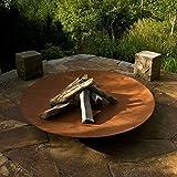 Round Wood Trading 60cm Corten Steel Bowl Burners-Rust Finish Fire Pits Garden Heating Heater Feature Furniture Patio, 60x60x14 cm
