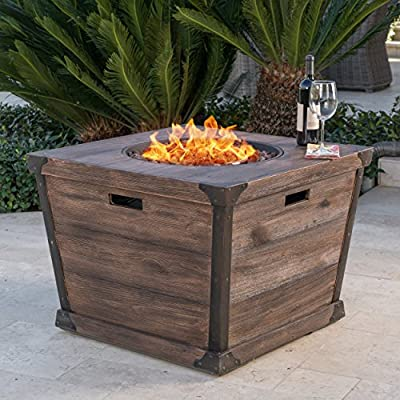 """Christopher Knight Home 303742"""" Delaney CKH Outdoor Fire Pit, Brown - Turn you backyard into the great outdoors and safely recreate the experience of sitting around the campfire with this brown wood finished fire pit Perfect for telling ghost stories, enjoying a summer night, or just warming yourself as the sun goes down Manufactured in China - patio, fire-pits-outdoor-fireplaces, outdoor-decor - 61MedlPwQCL. SS400  -"""