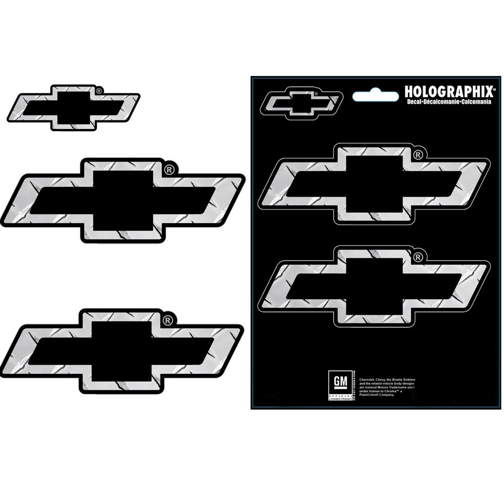 Amazon Com Chevy Chevrolet Bow Tie Logo Silver Treadplate Pattern