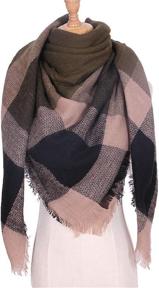 AiNaMei Bufanda cálida de doble uso de cachemira de otoño e invierno para mujer.