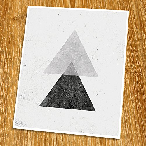 Geometric Art Print (Unframed), Modern Art Print, Abstract Art Poster, Mid-century Art, Cafe, Industrial, Loft, Triangle Wall Art, Black and White, 8x10