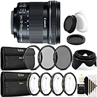 Canon EF-S 10-18mm f/4.5-5.6 IS STM Lens for Canon EOS Rebel with UV CPL ND8 +1 +2 +4 +10 + Tulip Lens Hood and More