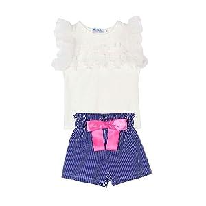 Shouhengda Toddler Kids Baby Girls Outfits Clothes T-shirt Tops+Pants/Shorts/Skirt 2PCS Set XL