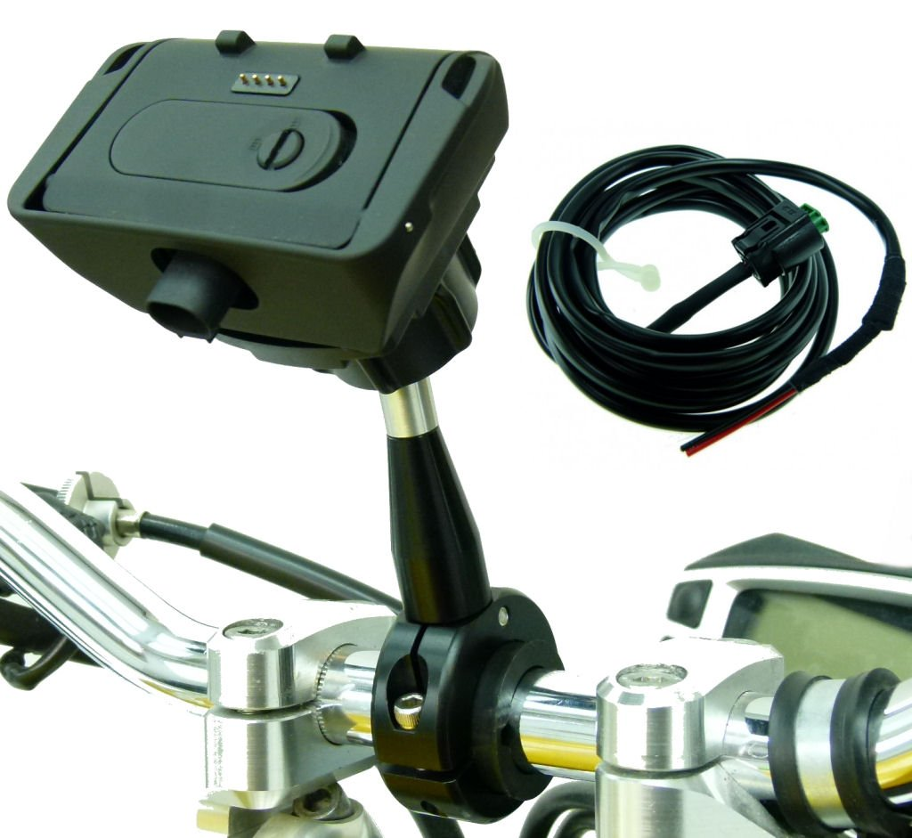 BuyBits Extended 9cm Metal Motorcycle Mount, Dock & Charger for TomTom Rider 2 Urban & PRO