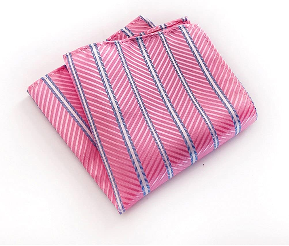 MOHSLEE Mens Hot Pink Striped Formal Suit Tie Handky Necktie /& Pocket Square Set