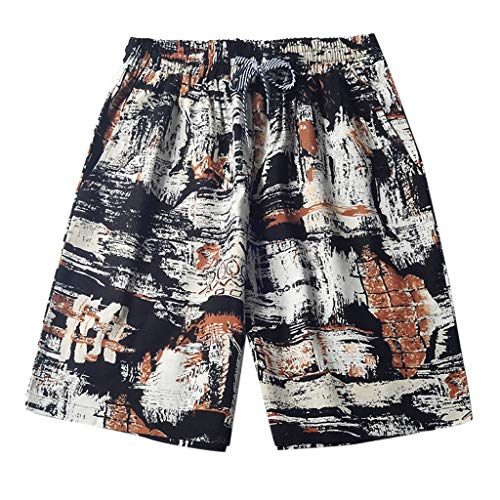 kaifongfu Men's Pants Multi-Pocket Versatile Twill Cargo Capri Shorts Active Normal Waist Loose Quick Drying Pants(White,L)