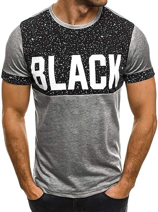 Kulywon Mens Shirts Personality Mens Casual Slim Short Sleeve Printed Shirt Top Blouse