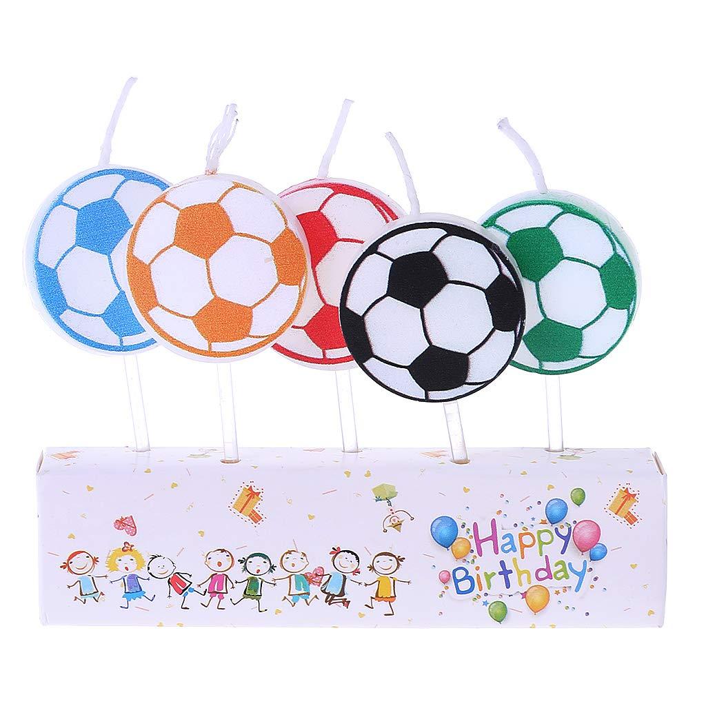 FXCO 5 Pieza decoración Cumpleaños Velas Juego de fútbol ...