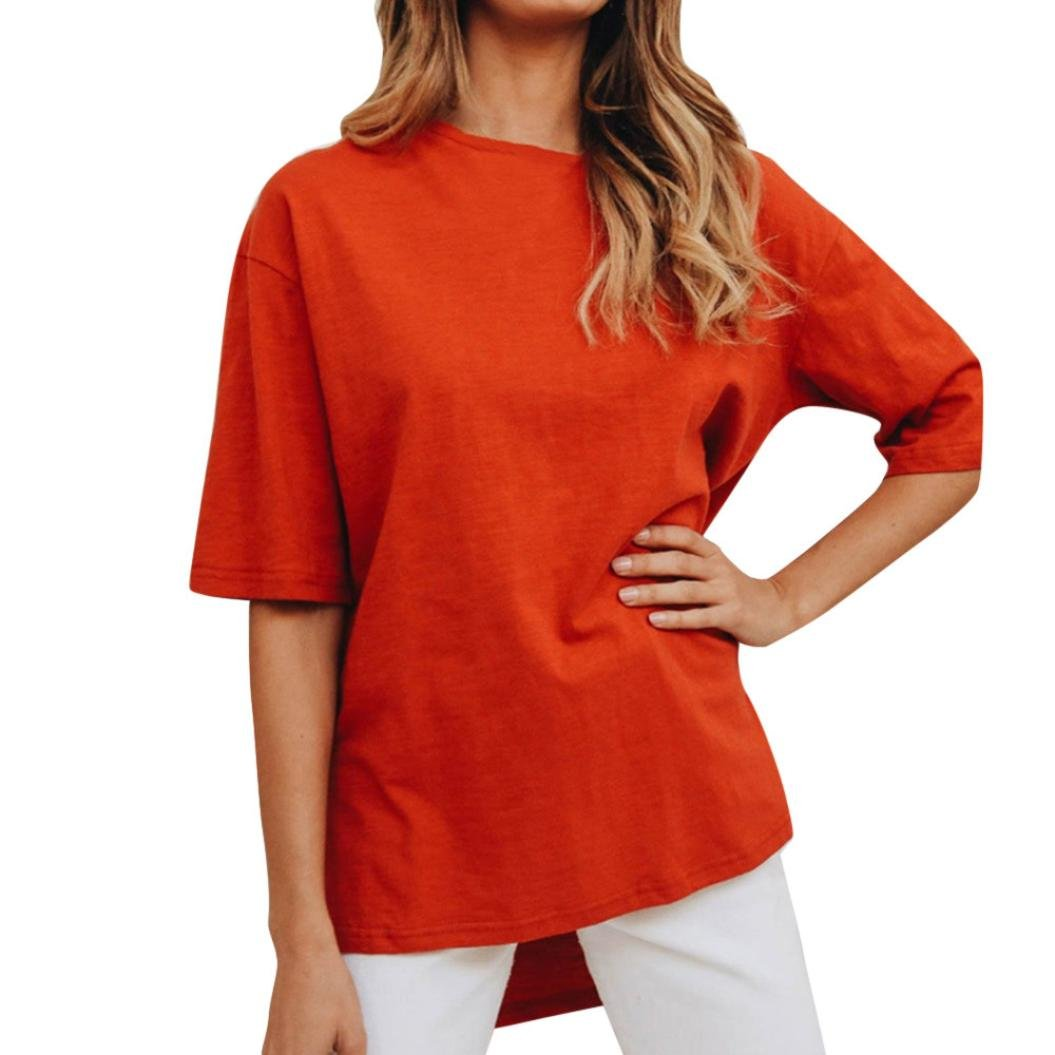 Women Casual Solid T-Shirt O-Neck Short Sleeve Top Split Irregular Loose Blouse(Orange ,Large)