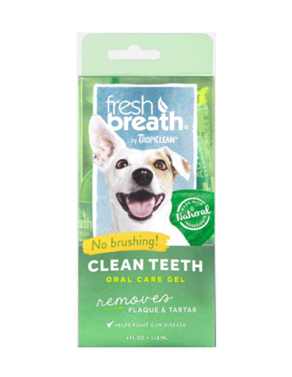 Tropiclean Fresh Breath Plaque Remover Pet Clean Teeth Gel 4oz Pack of two (8 oz total)