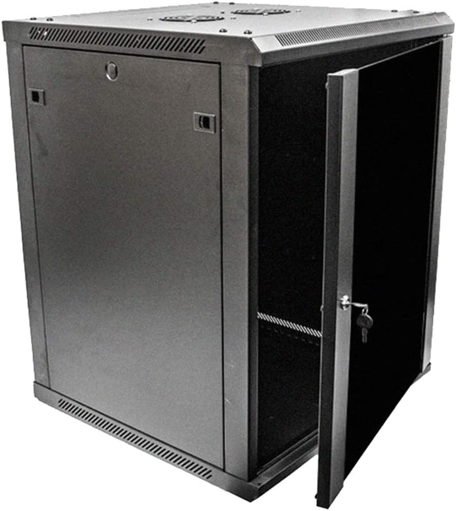 NavePoint 15U Deluxe IT Wallmount Cabinet Enclosure 19-Inch Server Network Rack with Locking Glass Door 24-Inches Deep Black with Shelves