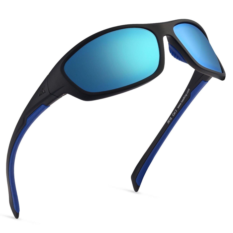 KastKing Hiwassee Polarized Sport Sunglasses for Men and Women, Matt Blackout Frame,Smoke Base Ice Mirror by KastKing