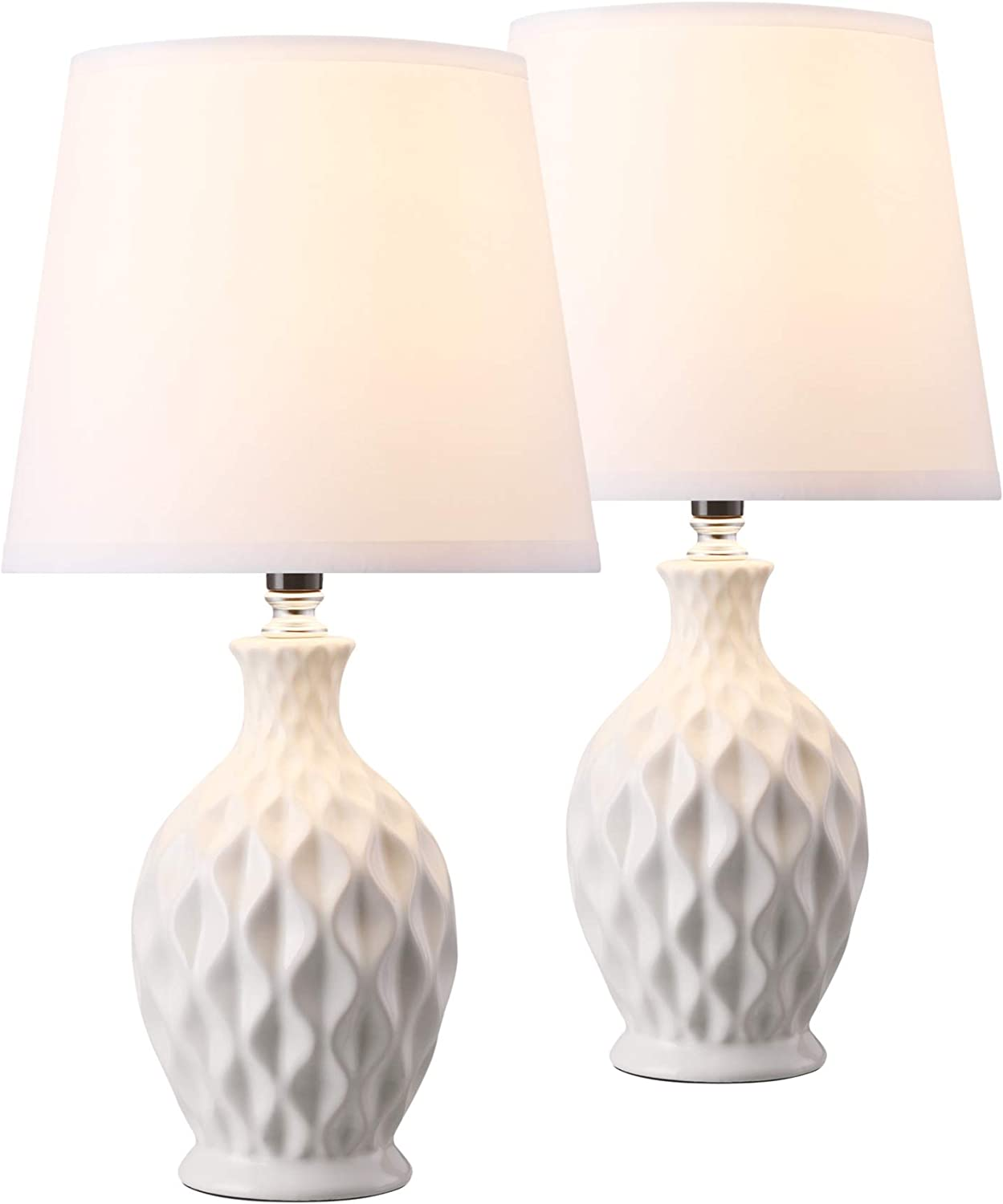 Co-Z Modern Ceramic Table Lamps Satz von 2, White Table Lamp für Bedside Nightstand Bedroom, Cute Desk Lamp mit White Fabric Shade 15'' bei Height.