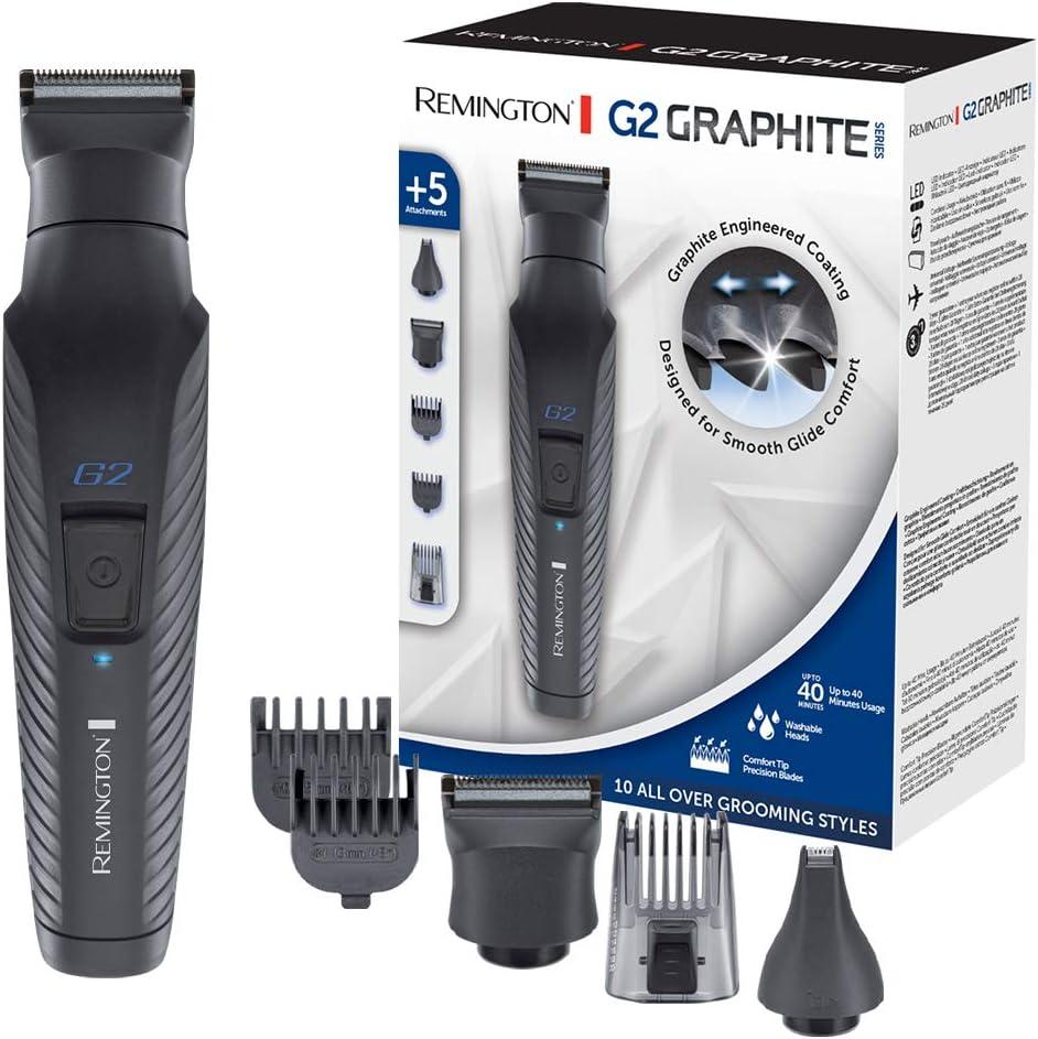Remington G2 Graphite Series PG2000 - Set Recortador de Barba y Cortapelos, 5 Accesorios, Inalámbrico, Revestimiento de Grafito, para Vello Facial y de Nariz, Negro