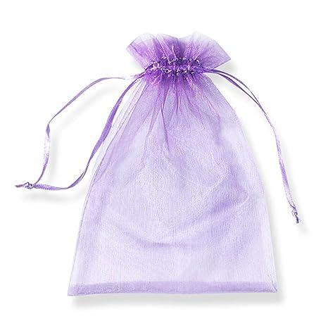 PLECUPE 100 Pcs Bolsa Organza Organza Bags, 30x40cm Transparente Organza Joya Bolsas Fiesta de Boda Bolsas de Regalo - Púrpura#1